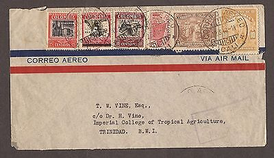 1940 Columbia Airmail Letter To Trinidad Stamps