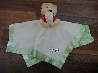Disney Baby Winnie the Pooh Plush Lovey Security Blanket Green With Satin