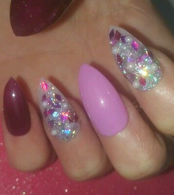 Bespoke Hand Painted Stilletto False Nails 22 Nails Purple Baby Pink Glitter