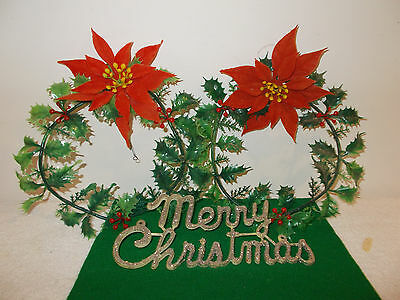2 Vintage 1950's Plastic Christmas Wreaths, Merry Christmas Decoration