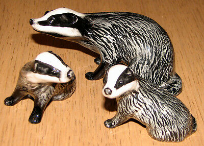 Vintage Beswick Badger Family All In Pristine Condition Private Collection