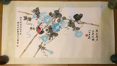 Chinese Bird Flower Calligraphy Characters Watercolor Painting Marked Vintage
