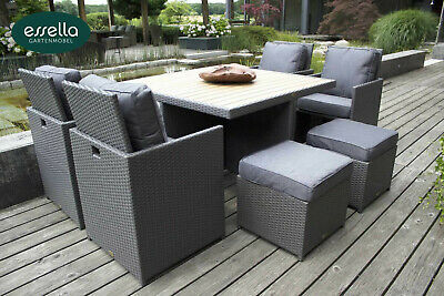 essella polyrattan gartenm bel essgruppe sitzgruppe rattan gartenset cube w rfel eur 603 90. Black Bedroom Furniture Sets. Home Design Ideas