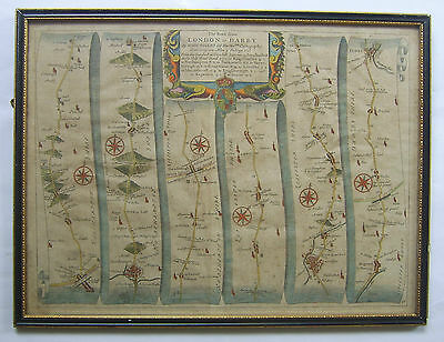 Northampton-Leicester-Loughborough-Derby road map by John Ogilby c1675