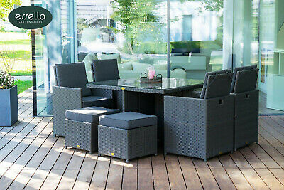 essella poly rattan gartenm bel bistro set garten garnitur lounge sitzgruppe eur. Black Bedroom Furniture Sets. Home Design Ideas