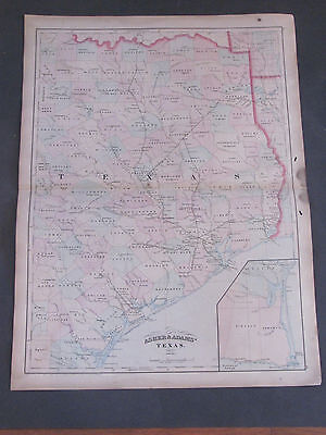 1873 Asher and Adams Texas Map
