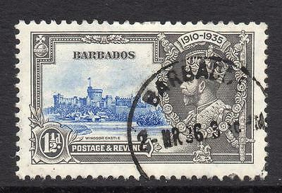 Barbados 1 1/2d Silver Jubilee Stamp c1935 Used
