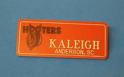 HOOTERS RESTAURANT GIRL KALEIGH ORANGE NAME TAG / PIN -  Waitress Pin