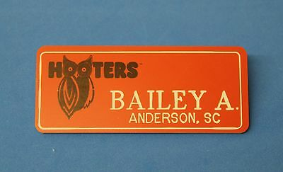 HOOTERS RESTAURANT GIRL BAILEY A. ORANGE NAME TAG / PIN -  Waitress Pin
