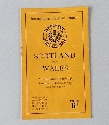 SCOTLAND v WALES 1953 FEBRUARY 7th.OFFICIAL PROGRAMME VERY GOOD CONDITION.