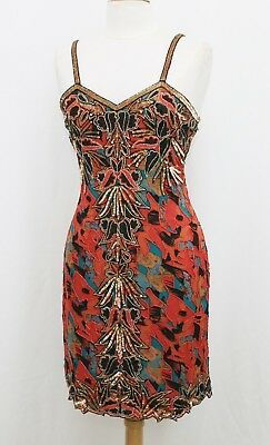 Jasdee Vintage Bead & Sequins Dress Hand Work & Hand Print On Silk Style 5007M