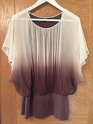 Ladies Coast Silk Top In Browns And Cream Size 16