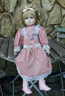"""OLD 21"""" DOLL w/ BISQUE HEAD HANDS & FEET Velvet Dress & Shoes w/ Display Stand"""