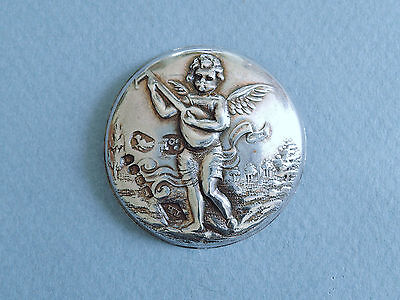 Antique Sterling Silver Picture Button - Cherub Playing the Lute, 1899