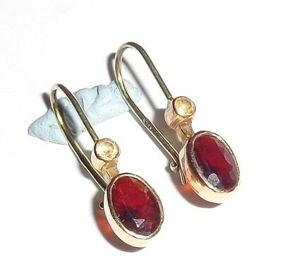 Antique Victorian 9ct Yellow Gold Garnet & Clear Stone Drop Earrings