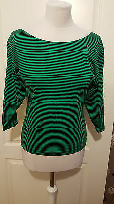 Women's ATLANTIC CROSSING bout neck top blouse size M/L striped green NEW