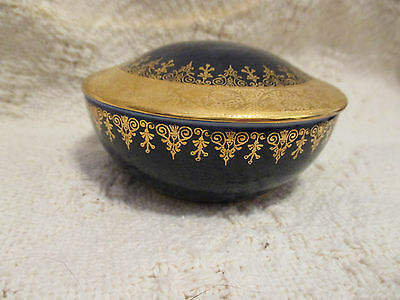 Vintage LIMOGES France Baranti or Veritable Cobalt & Gold Porcelain Trinket Dish