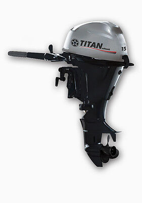 Titan 15 Hp Four 4 Stroke Outboard Marine Engine Motor Vessel Inflatable