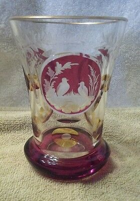 Czech bohemian style cranberry and amber to clear Glass