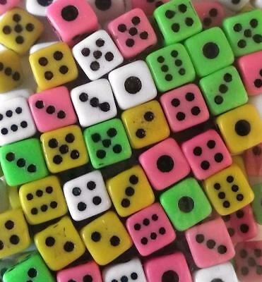 Bulk Lot of 20 Budget Mini Playing Game Dice 5mm Size 4 Colours