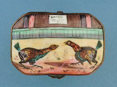 "Antique Bilston Enamel Cock Fighting ""Match"" Snuff Box c1760"