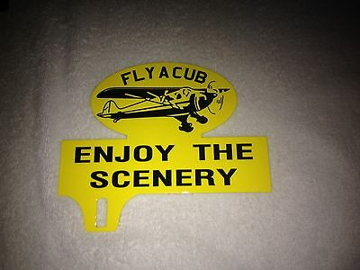 Old Style  Fly A Cub Airport License Plate Topper Great Graphics