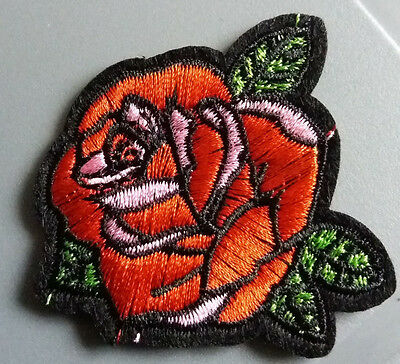 DIY RED ROSE FLOWER Applique EMBROIDERY IRON ON PATCH BADGE