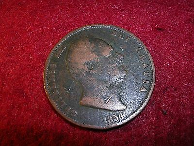 A William 1111 1834 Halfpenny Coin.
