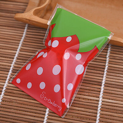 Plastic Resealable Biscuit Bags Lovely Strawberry Self-Adhesive About 100pcs