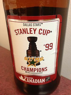 1999 molson stanley cup nhl Dallas Stars beer bottle glass empty collector