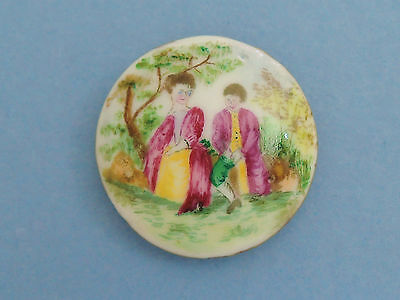 Antique 18th Century Painted Porcelain Picture Button - Courting Couple