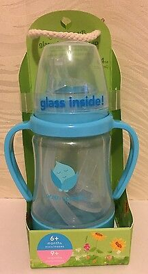 green sprouts Glass Sip 'n Straw Cup, Light Aqua, 4 Ounce