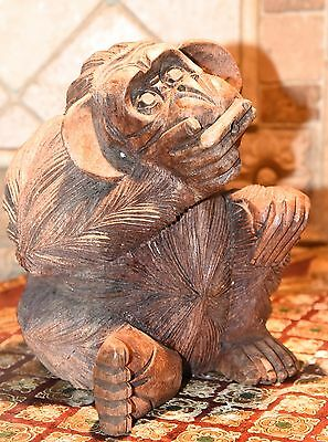 Hand Carved Wood Laughing Monkey Jungle Animal Figurine Solid Vintage Tiki Bar