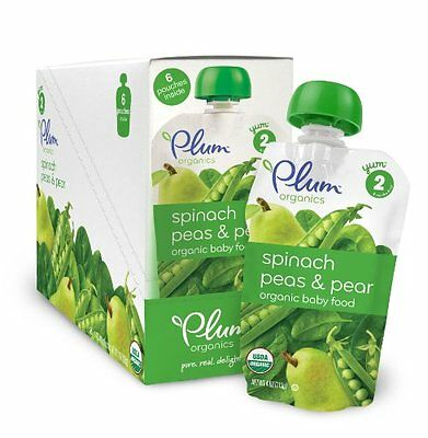 Plum Organics Baby Second Blends, Spinach, Peas and Pear, 4 Ounce Pouches ...NEW