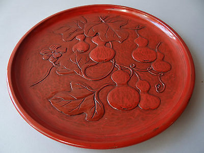"Japanese Hand carved Lacquered Wood serving Tray ""OBON"", Tea Ceremony"