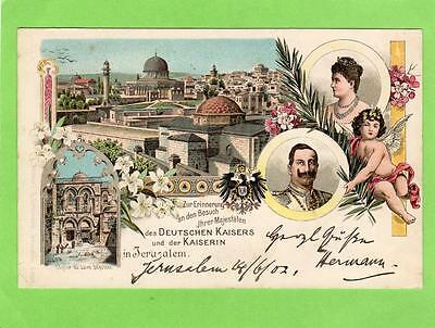 Early Gruss Aus Jerusalem Palestine Deutsche Kaiser pc used 1902 German P O