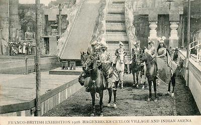 Franco-British Exhibition 1908 Hagenbecks Ceylon Village Indian Arena old pc