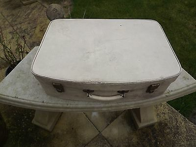 1950s 60s PIXIE BRAND PERSONNEL LUGGAGE VINTAGE WHITE  SUITCASE