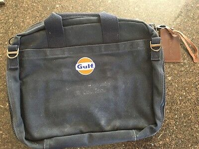 GULF OIL FABRIC LANDS END BRIEFCASE/laptop BAG - With Gulf Sign Emblem Embr