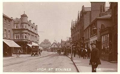 High Street Staines unused RP old pc Fine Real Photo