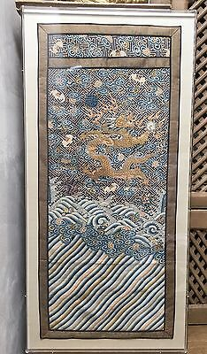 Exceptional Large Antique Chinese Dragon Kesi Silk Panel Embroidery