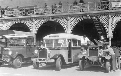 RP old photo card Agfa (not postcard) Needham Market Bus Fire Engine at Brighton