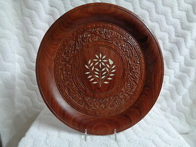 Vintage Hand Carved Wooden Floral Plate Made In India