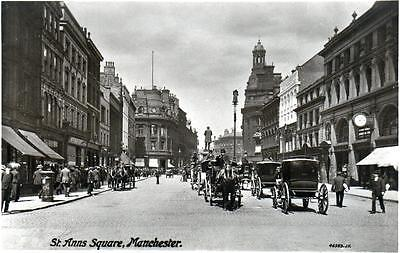 St Ann's Square Manchester unused RP old postcard by Valentines