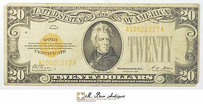 1928 $20.00 Gold Certificate U.S. Currency *669