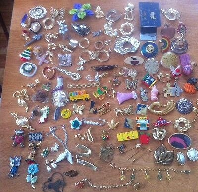 Vintage Huge Lot Brooches Pins Signed Park Lane Sweater Clip Scarf 110 Pcs +