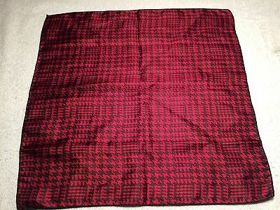 """Mens Pocket Square Handkerchief 100% Silk Red With Black 14"""" X 14"""""""