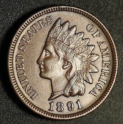 1891 INDIAN HEAD CENT -With LIBERTY & Near 4 DIAMONDS - AU UNC