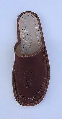 Men's Sheep Leather Slippers Shoes Brown  Handmade