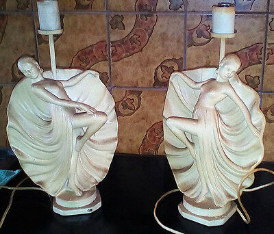 A Pair Of Ceramric Table Lamps Art Deco / Art Nouveau